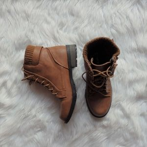 Shoes - Brown Combat Boots with Gold Hardware